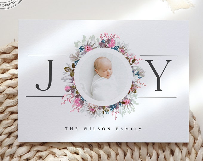Modern Holiday Baby Announcement Card, Downloadable or Printed Set, With Photo, Editable Christmas Card, Printable Photo Card Template, DIY
