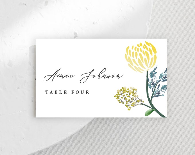 Printable Name Card, Escort Card Template, Yellow, Greenery, Citrus, Florals, Dinner Party, Self-Editing, DIY Name Cards, Wedding, Reception