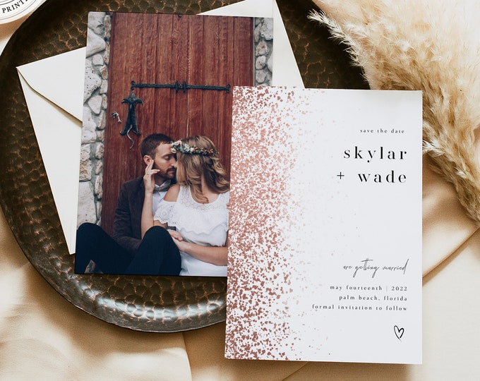 Rose Gold Save the Dates, Downloadable Template, Faux Rose Gold Foil, Minimalist, Glamorous Self Editing Template, With Picture, Minimal DIY