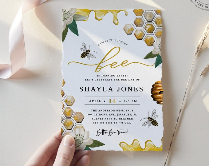 Bee Birthday Party Invitation Template, Our Little Honey Bee, Kid Birthday Invite, Digital or Printed, Editable Text, Bumblebee, Bee-Day 105