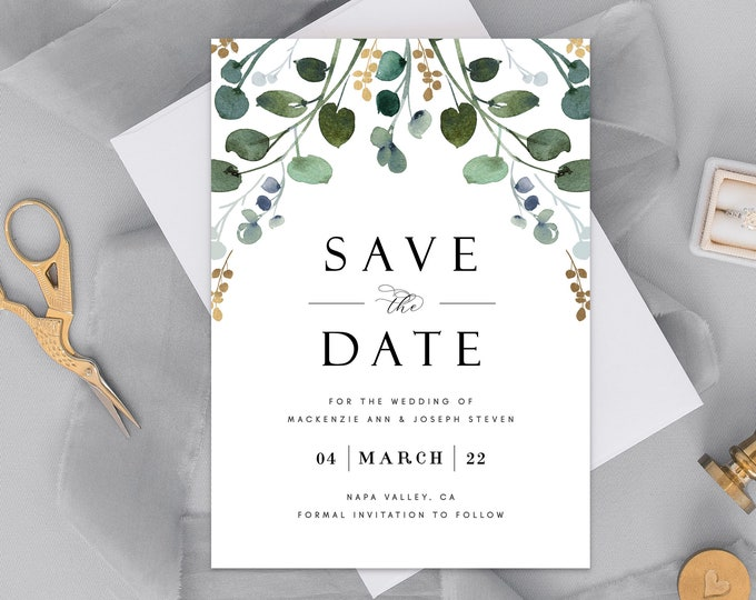 INSTANT DOWNLOAD Save the Date Invitation, Eucalyptus Leaves, Photo, Greenery, Gold, Romantic, Garden Wedding, Editable Save the Date 043