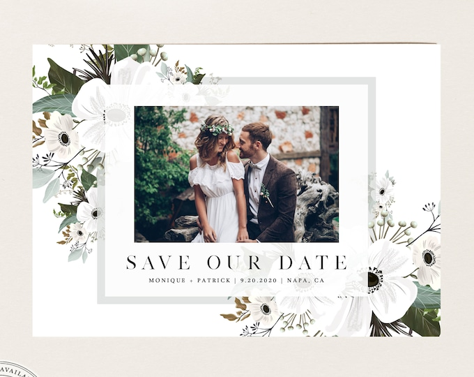 Greenery and White Save the Date Photo Card, Instant Download, Printable Save Our Date, Elegant Garden Invite, Self-Editing Ivory Wedding