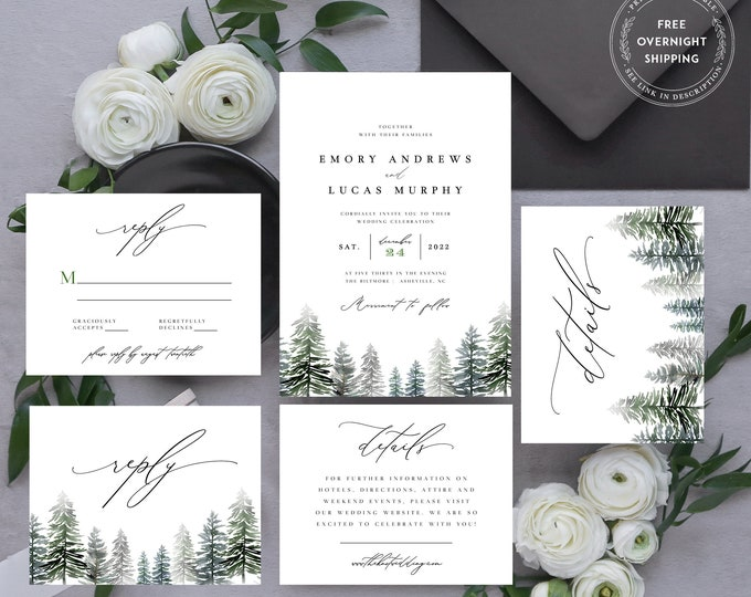 Winter Wedding Invitation, Instant Download, Rustic Wedding Invite Template, Editable Text, Evergreen Trees, Templett, Greenery Forest Suite