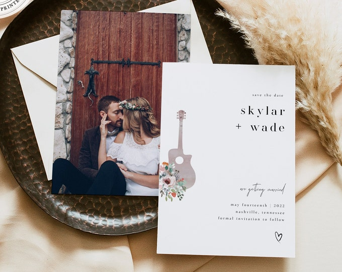 Minimalist Guitar Save the Date, Nashville Save Our Date Card Template, Live Music Wedding Save the Date, Modern Templett, Instant Download