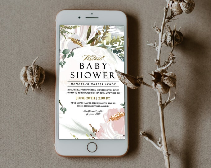 Virtual Baby Shower Invitation, Instant Download, Long Distance Baby Shower Invite, Downloadable, Spring, Florals, Editable Text, Pastels