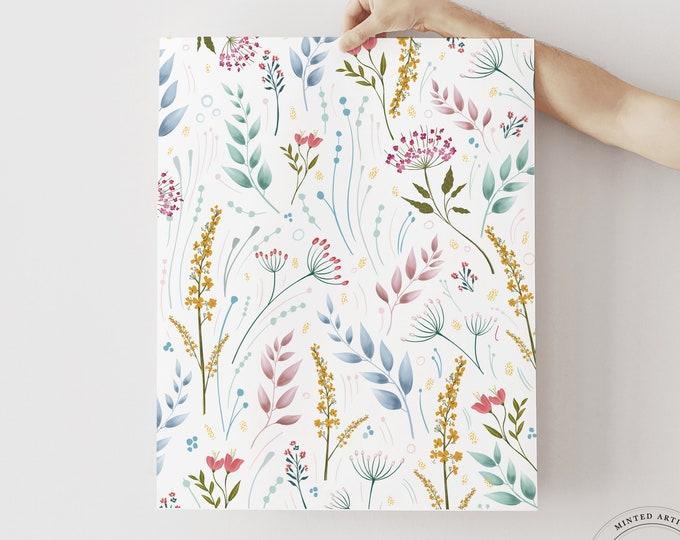 Wildflower Art Print, Floral Illustration, Modern Flower Watercolor, Printable or Printed, Girl Nursery Art, Teen Girl Bedroom, Dorm Decor