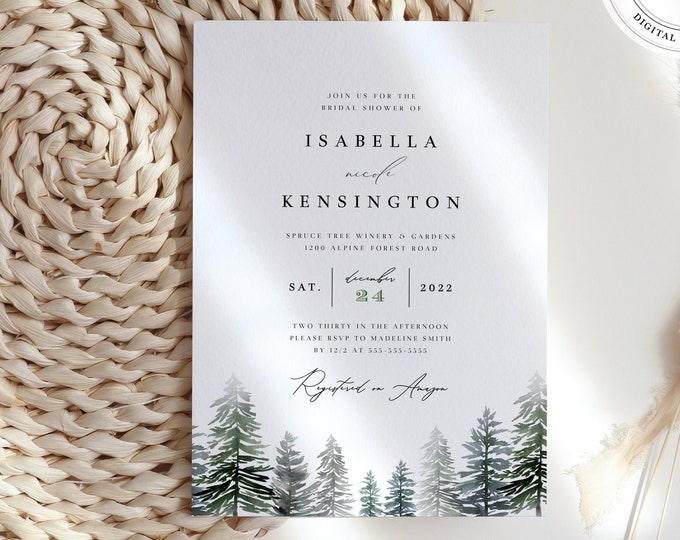 Winter Shower Invitation, Instant Download, Forest Elopement Wedding Invite Printable Template, Editable, Pine Trees, Mountain Party Invite