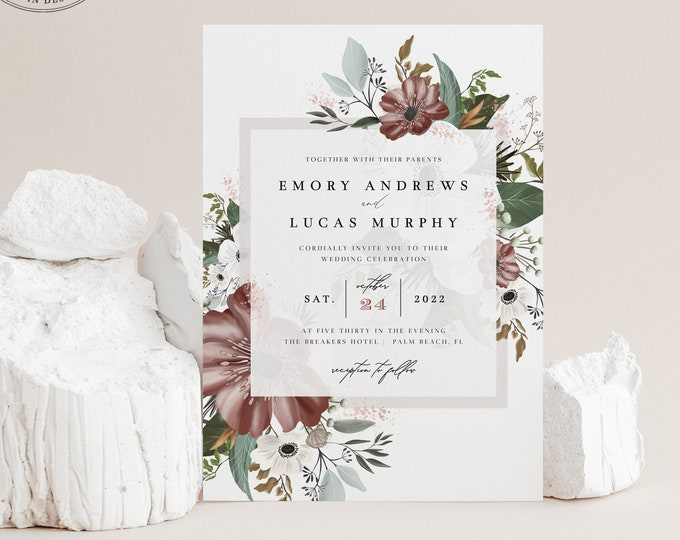 Canyon Rose Wedding Invitation, Dusty Rose Wedding Suite, Instant Download, Editable Text, Printable Invitation, Fall Rustic Wedding Mauve