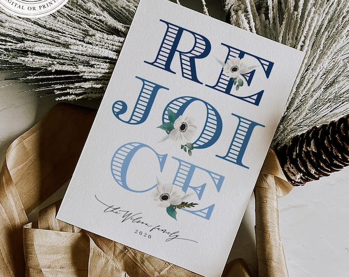 Printed Photo Holiday Cards, Digital Download or Overnight Printing, Minimalist, Navy Blue, Edit with Templett, Handmade Set, Illustrated