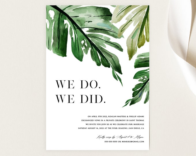 INSTANT DOWNLOAD Elopement Party Invite, Destination Wedding Invitation, Editable Text, Green, Monstera Palm, Tropical, Editable Text 006