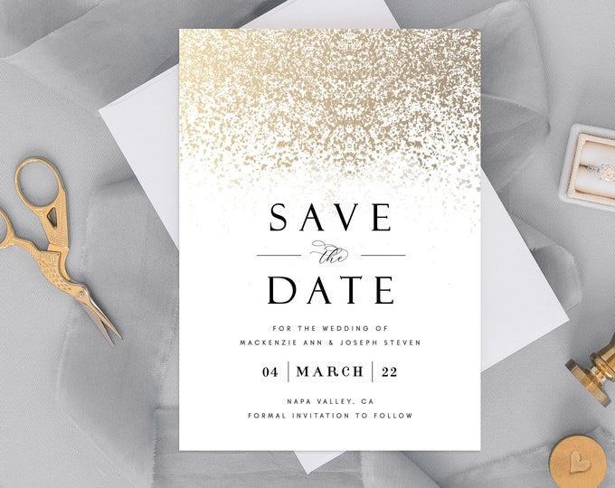 Save the Date Card, Gold, Save the Date Photo Card, INSTANT DOWNLOAD, Modern Save the Date Template,Editable Text,Digital Dowload,Minimalist