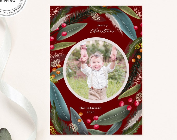 Christmas Card Template, Watercolor Leaves, Photo Holiday Card, 2020 Picture Card, Instant Download, Printable Xmas Card Set, Printed, Red