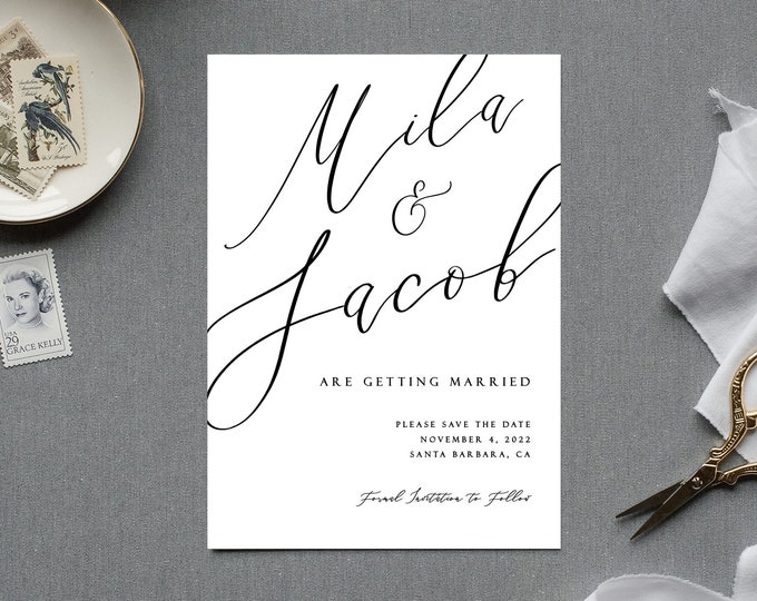 Minimalist Save the Date Invitations, Photo, Picture, Editable, Self-Editing, Black, White, Modern, Calligraphy, Downloadable Template, DIY