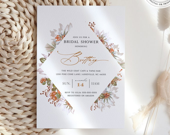 Fall Bridal Shower Invitation, Autumn Couples Shower, Rustic Harvest, Downloadable Template, Printed or Printable, Virtual Shower, Instant