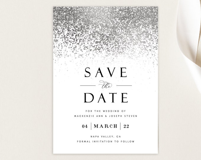Editable Save the Date Card, Silver, Silver Foil, Modern, With Photo, Picture, INSTANT DOWNLOAD, Save the Date Template, Printable, Glam DIY