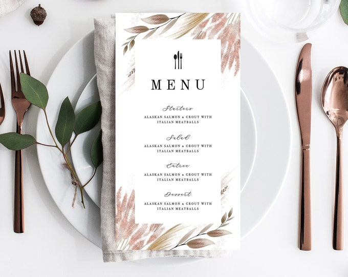 Pampas Grass Wedding Menu, Dried Grass Dinner Menu Template, Instant Download, Editable Text, Rustic Food Menu, Watercolor, Dusty Rose 207