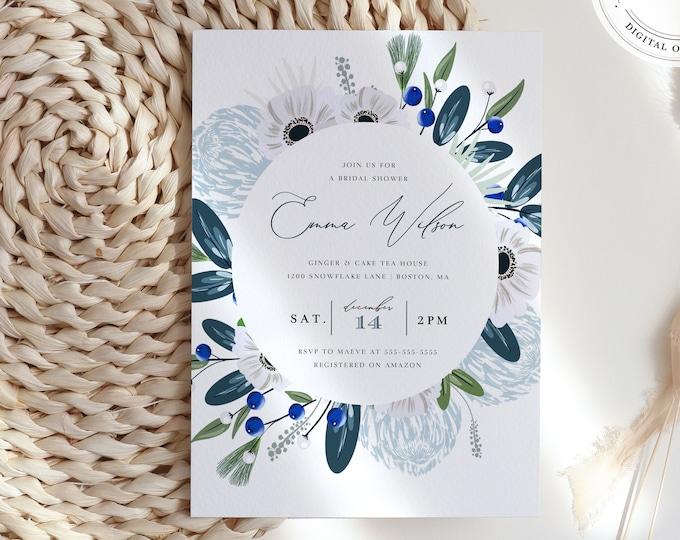 Dusty Blue and Navy Bridal Shower Invitation, Instant Download, Modern Illustration Florals, Digital Download, Winter Boho Editable Template