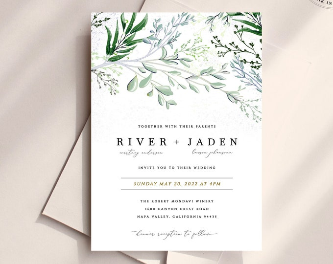 Bohemian Greenery Wedding Invitation, Instant Download or Printed Suite, Sage Green Wedding Invitation Set, Green and Powder Blue Invitation