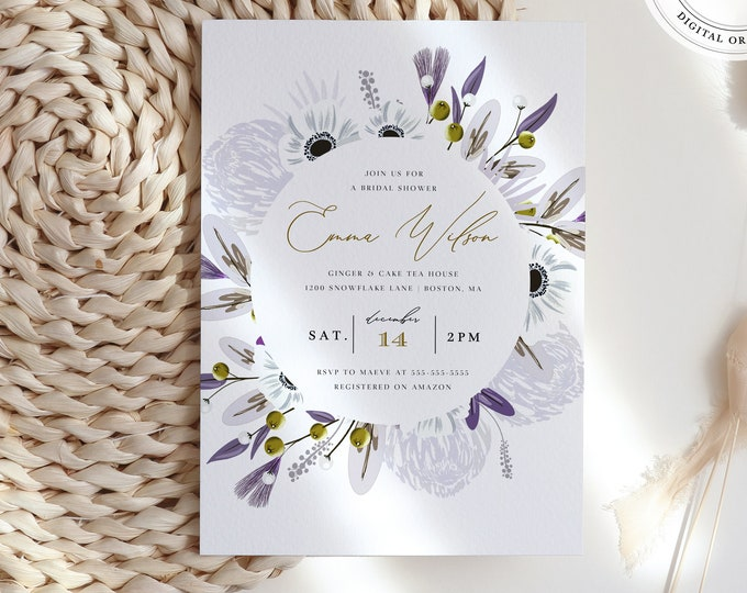 Lavender Bridal Shower Invitation, Instant Download, Lilac and Gray Florals, Virtual Shower Invite, Winter Invitation Template, Lilac, Boho