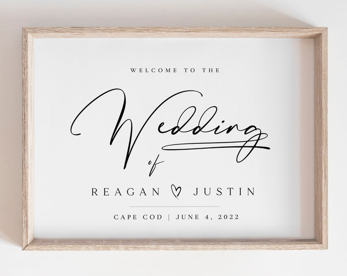 Modern Wedding Welcome Sign, Minimalist Black and White, Templett, Customizable Large Sign, Printed or Printable Poster Sign, Self-Editing