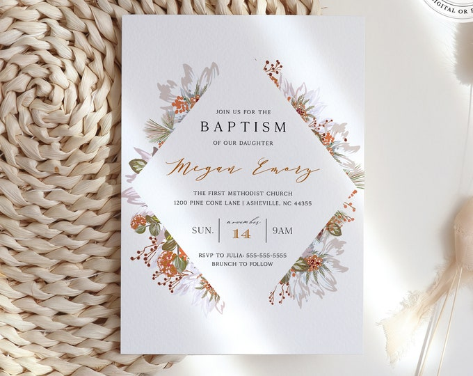 Fall Baptism Invitation, Self-Editing Template, Overnight Printing, Rustic Christening Invite, Orange, Wildflowers, Boy, Girl, Communion DIY