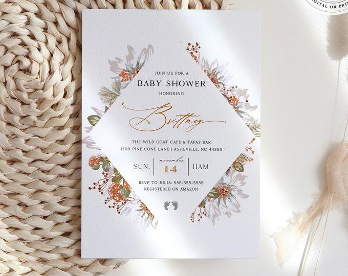 Fall Baby Shower Invitation, Gender Neutral, Burnt Orange, Greenery, Downloadable Template, Overnight Printing, Rustic Wildflower, Virtual