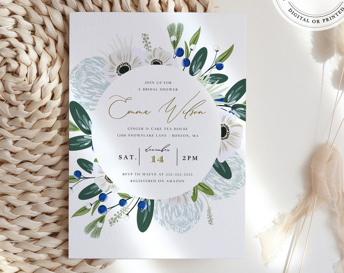 Wintery Greenery Bridal Shower Invitation, Instant Download, Sage and Dusty Blue Illustration, Virtual Invite Template, Powder Blue, Modern