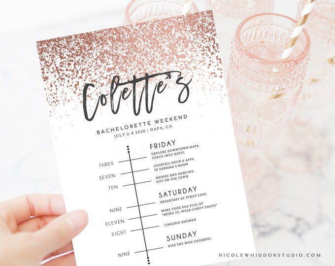 INSTANT DOWNLOAD ROSE Gold Bachelorette Invitation with Itinerary, Girls Weekend, Event Schedule, Self Editing, Templett, Template Blush 755