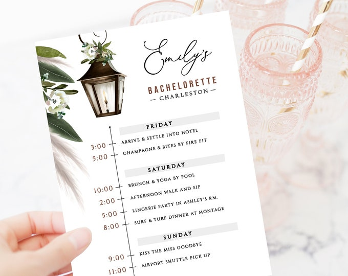 Bachelorette Party Invitation Charleston, Savannah, New Orleans, Bachelorette Itinerary, Instant Download, Editable Text, Girl's Weekend