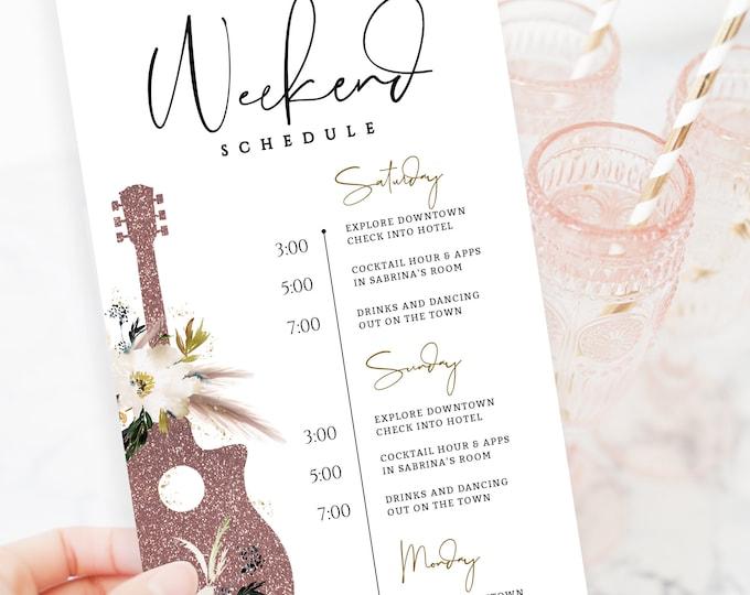 Bachelorette Party Invitation Nashville, Weekend Itinerary, Editable Template, Schedule, Downloadable, Nash-Bash, Printable Bachelorette