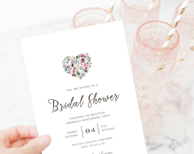 Editable Bridal Shower Invitations, Digital Download, Heart, Blush, Watercolor, Fully Editable, Self-Printing Bridal Shower Invites, Simple