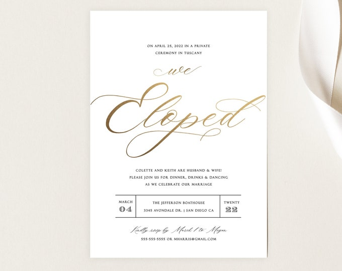INSTANT DOWNLOAD Minimalist Wedding Invitation, Gold, Gold Foil, Modern Elopement Announcement, Editable, With Photo, Template, Printable
