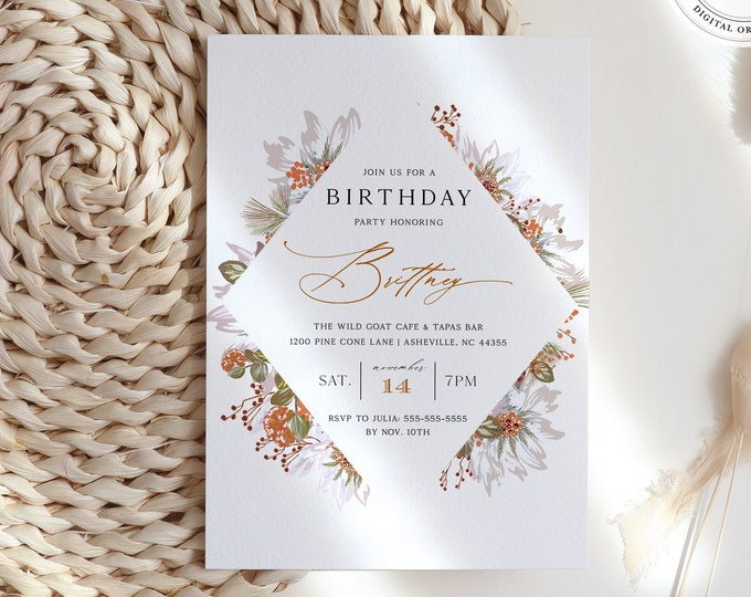 Fall Birthday Party Invitation, Thanksgiving Birthday Party Invitation, Kids Birthday, Fall, Orange, Editable Autumn Invitation, Templett