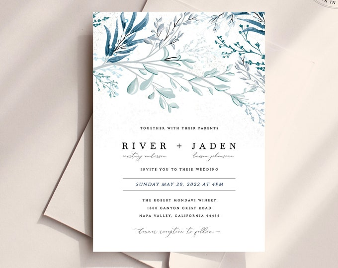 Dusty Blue and Navy Wedding Invitation, Printed Wedding Invitations, Powder Blue Wedding Invitation Set, Downloadable Lake Invitation Suite