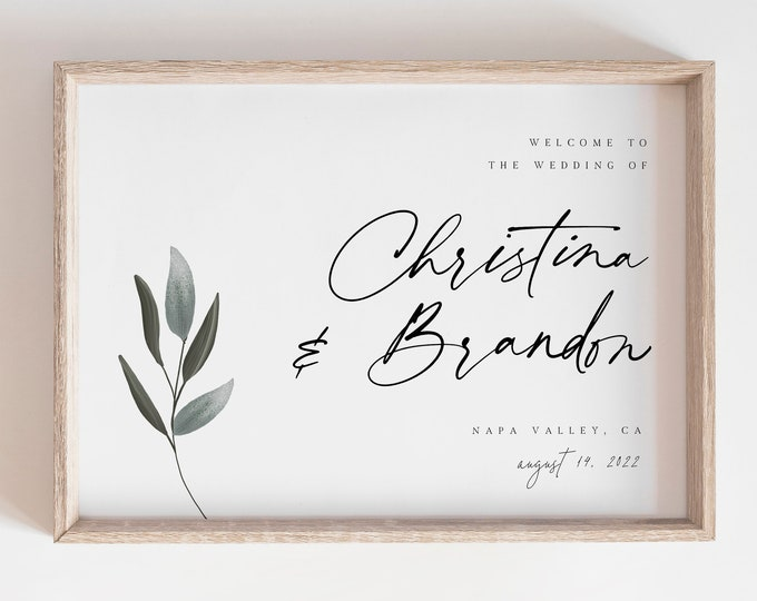 Minimalist Greenery Welcome Sign, Rustic Outdoor Welcome Sign, Modern, Self-Editing Text, DIY Poster Sign, Editable Template, Garden Wedding