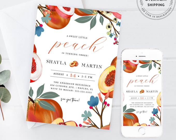 Peach Birthday Invitation, Instant Download, Georgia Peach, Kid Party, Editable Text, 1st birthday, Baby Girl, Template, Sweet as a Peach