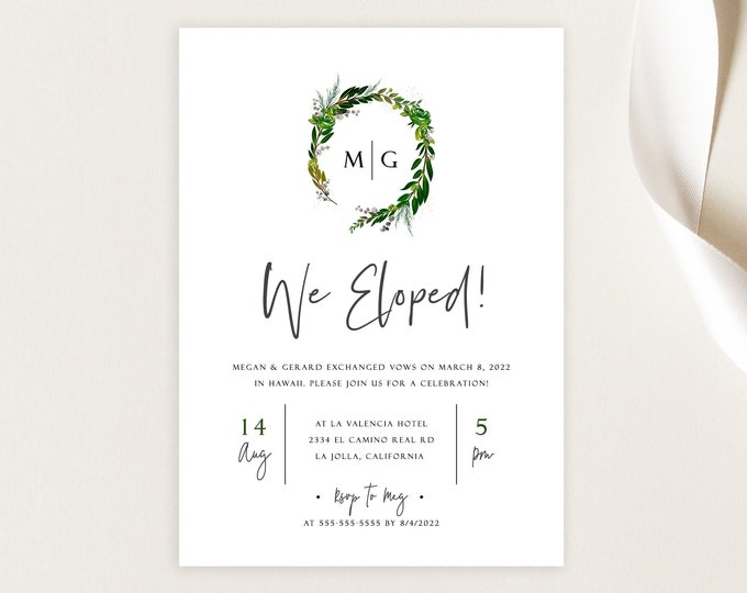 Elopement Party Invitation, Greenery, Minimalist, Digital Download, Self Editing Template, Rustic, Editable Text, Elopement Afterparty, PDF