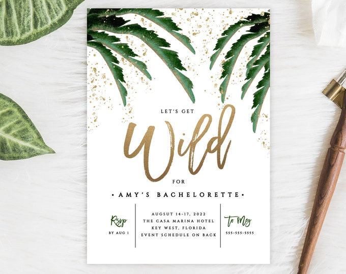 Bachelorette Party Template, INSTANT DOWNLOAD, Let's Get Wild, Tropical Bachelorette Party, Itinerary, Schedule, Fully Editable, Palm Leaf