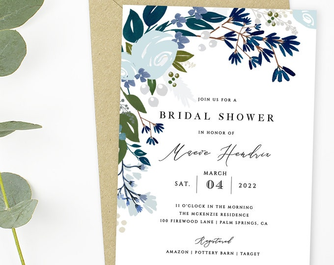 Bridal Shower Invitation Template, INSTANT DOWNLOAD, Navy Blue, Navy, Green, Greenery, Modern, Fully Editable Text, Templett, Dusty Blue 122