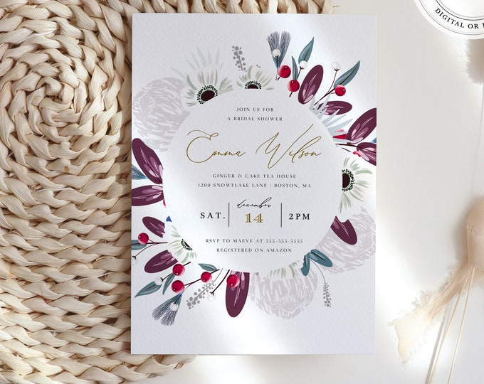 Burgundy and Blush Bridal Shower Invitation, Instant Download, Plum Wine Florals, Virtual Party, Moody Invite Template, Fall, Winter, Mauve