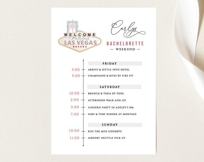 Bachelorette Party Invitation Vegas, Las Vegas Bachelorette Party Invite, With Itinerary, Printable Invite, Instant Download, Schedule, PDF