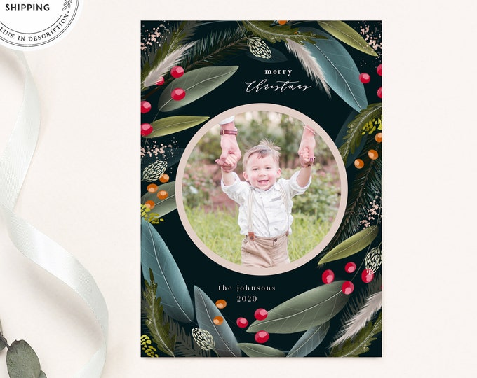 Modern Photo Holiday Card, Christmas Photo Card Template, Illustrated Holiday Card, With Picture, Printable Templett, Greenery, Watercolor