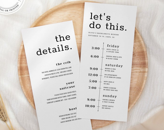 Minimalist Bachelorette Itinerary, Instant Download, 100% Editable Text, Black and White, Wedding Welcome Schedule, Modern Font, Templett