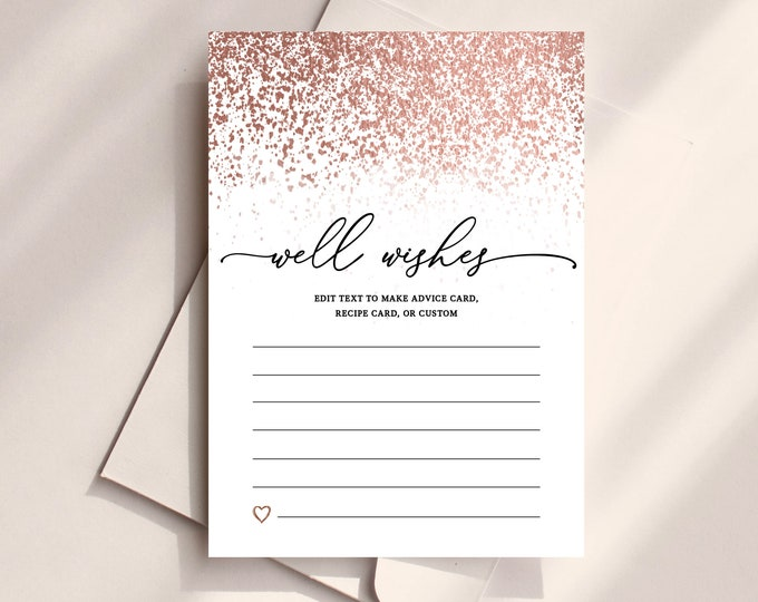 Well Wishes Bride and Groom Template, Rose Gold, Advice for Bride, Rose Gold Foil, Well Wishes for Baby, Printable Insert Card, Glitter, 755