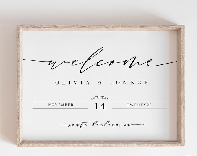 Welcome Sign Wedding, Instant Download, Minimalist Poster Sign, Calligraphy, Downloadable, Printable Landscape Simple Sign, 24x36, Oversized