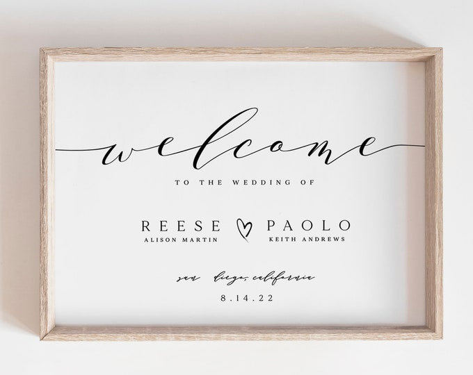Minimalist Calligraphy Welcome Sign, Printable, Editable Text, Digital Download, Elegant Wedding, Simple Welcome Sign, Large Modern Poster