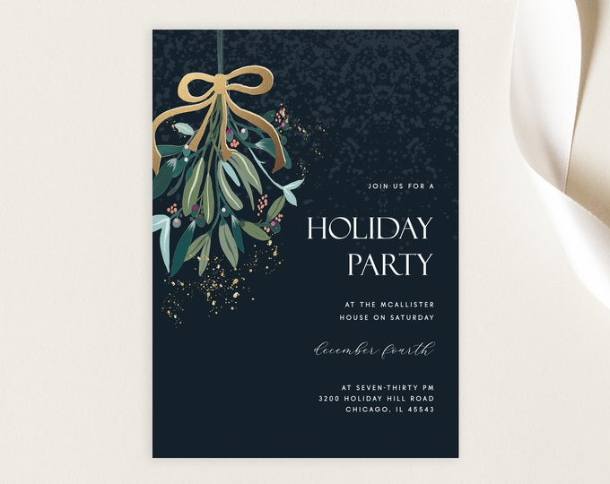 INSTANT DOWNLOAD, Christmas Party Invitation, Editable Template, Holiday Party Invitation Template, Mistletoe Modern Green, Gold, Printable