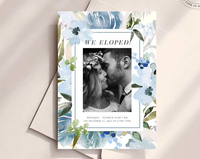 Dusty Blue and Green Announcement Card, Instant Download, Floral Photo Wedding Announcement, We Eloped, Reception Party Invite, Self-Editing