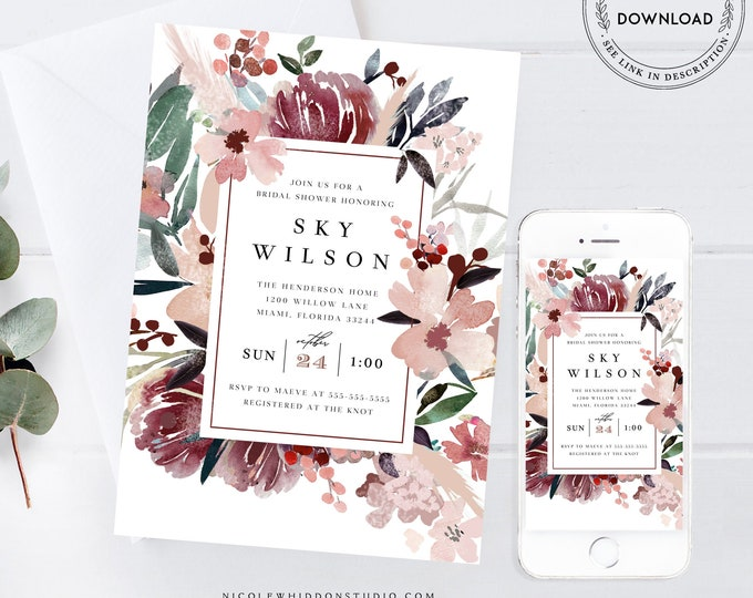 Rustic Burgundy Bridal Shower Invitation Template, Fall Marsala Invitation, Blush Peony Floral Invite, Instant Download, Edit Text Yourself