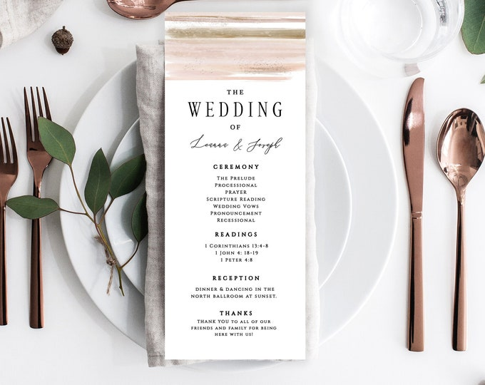 Wedding Program Template, Download, Printable Wedding Programs, Editable Text, Instant Download, Blush, Copper, Abstract, Minimalist, 103